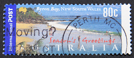byron: GRANADA, SPAIN - DICIEMBRE 16, 2015: A stamp printed in Australia shows Byron Bay, New  South Wales, 2000 Editorial