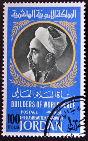 king hussein: GRANADA, SPAIN - APRIL 14, 2014: A stamp printed in Jordan shows Portrait of King Abdullah I of Jordan (1882-1951), 1967