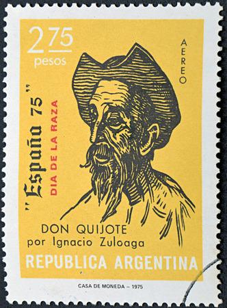don quijote: GRANADA, ESPAÑA - 01 de diciembre 2015: un sello impreso en la Argentina muestra Don Quijote, Dibujo de Ignacio Zuloaga, 1975 Editorial
