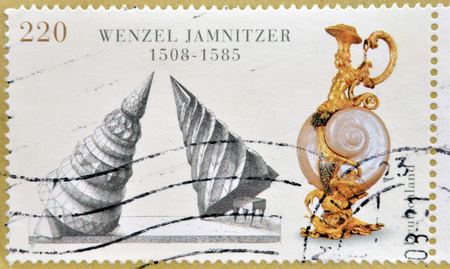 philatelist: GERMANY - CIRCA 2008: A postage stamp of Germany with the theme 500th anniversary Wenzel Jamnitzer