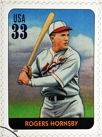 homerun: GRANADA, SPAIN - DECEMBER 1, 2015: A stamp printed in USA dedicated to Legends of Baseball shows Rogers Hornsby, 2000 Editorial
