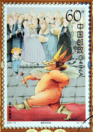 GRANADA, SPAIN - DECEMBER 1, 2015: A stamp printed in Chica dedicated to Andersen's Fairy Tales, shows The Emperor's New Clothes, 2005 Editorial