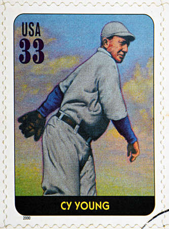 GRANADA, SPAIN - DECEMBER 1, 2015: A stamp printed in USA dedicated to Legends of Baseball shows Cy Young, 2000