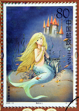 poet: GRANADA, SPAIN - DECEMBER 1, 2015: A stamp printed in Chica dedicated to Andersen's Fairy Tales, shows The Little Mermaid , 2005 Editorial