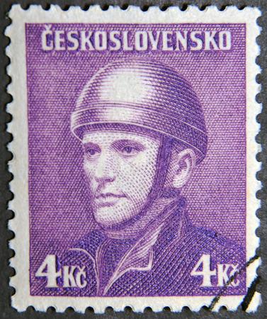 anthropoid: CZECHOSLOVAKIA - CIRCA 1945: A postage stamp of Czechoslovakia shows Josef Gabcik (Parachutist) Editorial