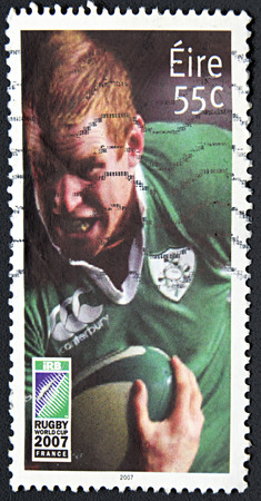 rugger: GRANADA, SPAIN - NOVEMBER 30, 2015: A stamp printed in Ireland dedicated to Rugby World Cup 2007 France, 2007 Editorial