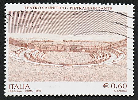 sunni: GRANADA, SPAIN - NOVEMBER 30, 2015: A stamp printed in Italy shows theater sannitico en Pietrabbondante, 2011