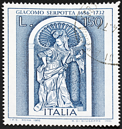 sello: GRANADA, SPAIN - NOVEMBER 30, 2015: A stamp printed in Italy dedicated to  Giacomo Serpotta, famous Italian sculptor, depicting his famous work fortitude, 1976.
