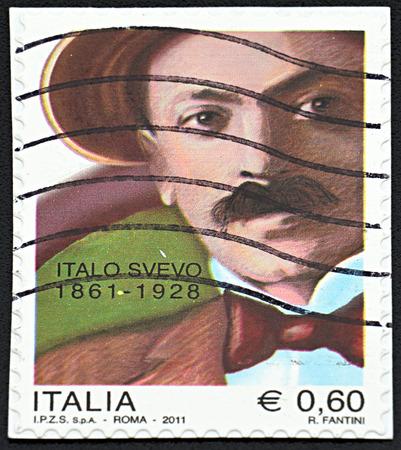 GRANADA, SPAIN - NOVEMBER 30, 2015: A stamp printed in Rome shows portrait of Italo Svevo, 2011