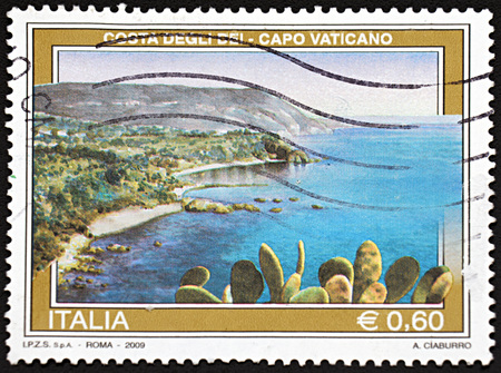 Roma: ROMA, ITALY - JANUARY 11, 2016: A stamp printed in Roma shows seascape, 2009