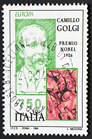 nobel: GRANADA, SPAIN - NOVEMBER 30, 2015: A stamp printed in Italy shows Camillo Golgi, Nobel Prize for Medicine in 1906, 1994 Editorial