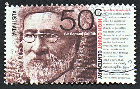 griffith: GRANADA, SPAIN - NOVEMBER 30, 2015: A stamp printed in Australia dedicated to High Court Centenary shows Sir Samuel Griffith, 2003