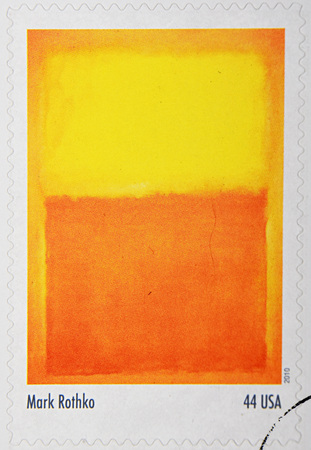 GRANADA, SPAIN - DECEMBER 1, 2015: A stamp printed in the USA shows Orange and Yellow by Mar Rothko, 2010 報道画像