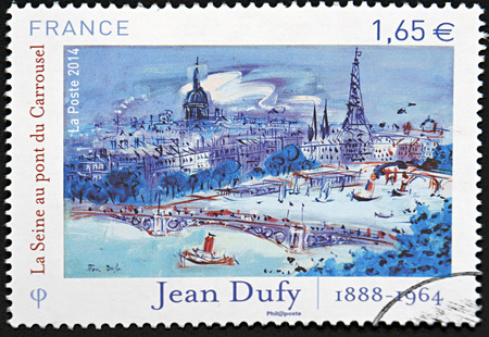 philatelist: GRANADA, SPAIN - NOVEMBER 30, 2015: A stamp printed in Paris, France shows beautiful cityview on Paris from roundabout by Jean Dufy, 2014
