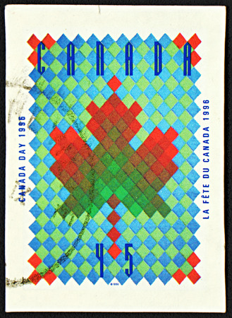 canada stamp: GRANADA, SPAIN - NOVEMBER 30, 2015: a stamp printed in Canada dedicated to Canada Day, 1996