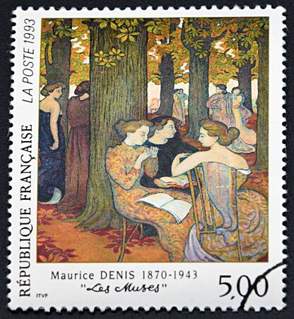 philatelist: GRANADA, SPAIN - NOVEMBER 30, 2015: A stamp printed in France shows The Muses by Maurice Denis, 1993