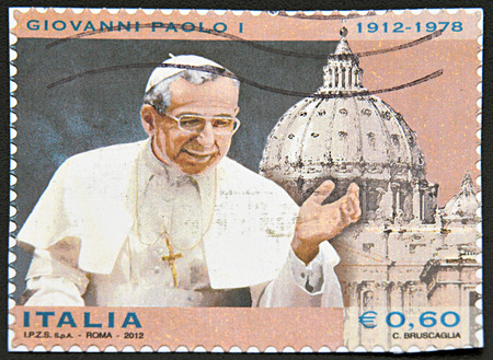 pontiff: GRANADA, SPAIN - NOVEMBER 30, 2015: A stamp printed in Rome shows Pope Giovanni Paolo the first, 2012 Editorial