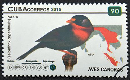 mesia: GRANADA, SPAIN - DECEMBER 1, 2015: A stamp printed in Cuba shows bird called Mesia, 2015