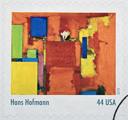 hans: GRANADA, SPAIN - DECEMBER 1, 2015: A stamp printed in USA dedicated to Abstract Expressionists shows the work The Golden Wall (1961) by Hans Hofmann, 2010