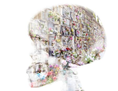 niches: tombs and niches with flowers in skull, double exposure Editorial