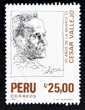 GRANADA, SPAIN - MAY 15, 2016: A stamp printed in Peru shows Cesar Vallejo, 1988