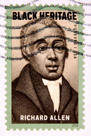 abolitionist: GRANADA, SPAIN - MAY 15, 2016: A stamp printed in USA shows Richard Allen, Black Heritage, 2016