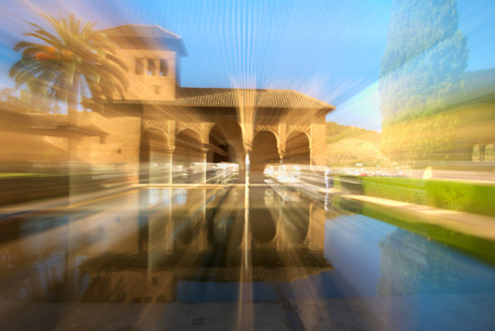 Torre de las Damas in the Alhambra of Granada. zooming effect