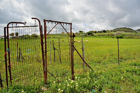 fenced: fenced field Stock Photo