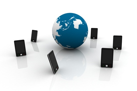 mobile phones around a world globe Stock Photo - 10012723