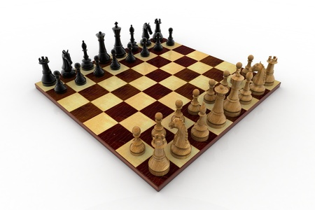 chellange: chess board isolated on white background Stock Photo
