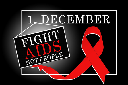 Red ribbon for the fight against AIDS, world AIDS day first december Stock Photo