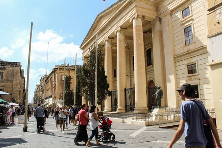 VALLETTA MALTA, SEPTEMBER 26, 2017 -The Neoclassical portico of Courts of Justice - the courthouse, located in Republic street