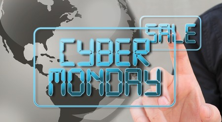ciber monday sale concept, with business man interacting with text 3d text Foto de archivo - 113503767