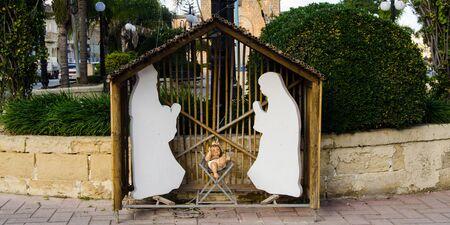 baby cheesus christmas crib - birth of cheesus concept 報道画像