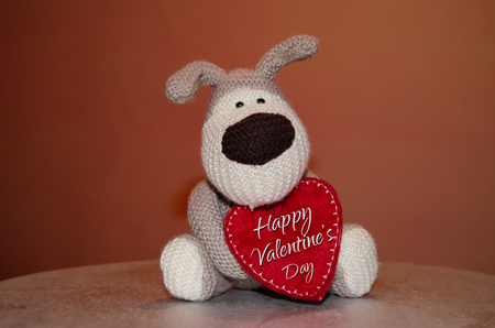 Gray hand made puppy soft toy with red heart - love concept, Happy Valentines Day text Stock Photo