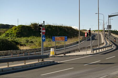 Mellieha, Malta 30 december 2018 Road to popeye village, sign showing 1km to destination