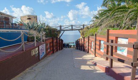 Mellieha, Malta 30 december 2018 - Entrance path in Popeye Village movie set Anchor bay
