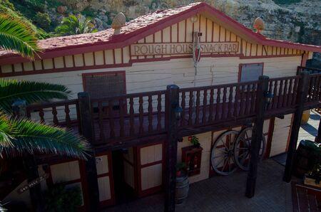Mellieha, Malta, 30 december 2018 - Rough house snack bar , house in Popeye village movie set, anchor bay 報道画像