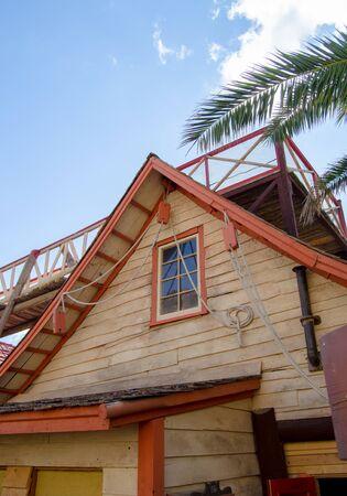 Mellieha, Malta, 30 december 2018 - Old wooden houses in Popeye village movie set Anchor bay