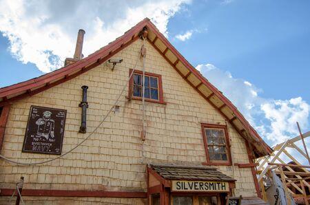 Mellieha , Malta, 30 december 2018 - Silversmith old wooden house in Popeye village Anchor bay