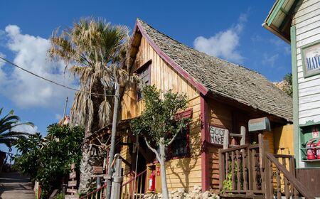 Mellieha, Malta, 30 december 2018 - Comic museum , house in Popeye village movie set Anchor bay