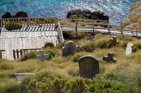 Mellieha, Malta, 30 december 2018 - cemetery in Popeye village Anchor bay