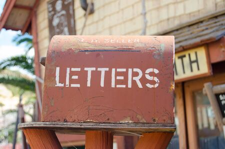Mellieha, Malta, 30 december 2018 - Letter box in front of silversmith house in popeye village ancor bay