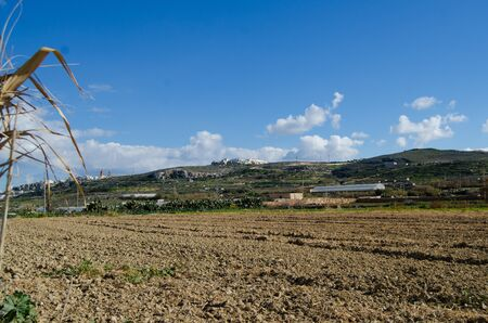 Mellieha, Malta, 30 december 2018 - Agriculture field hills 報道画像