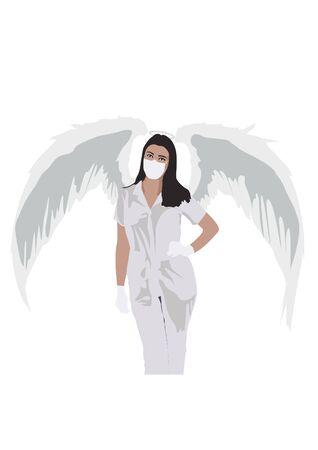 Vector image medical guardian angel, coronovirus control