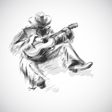 Vector illustration. Man with  guitar Vector