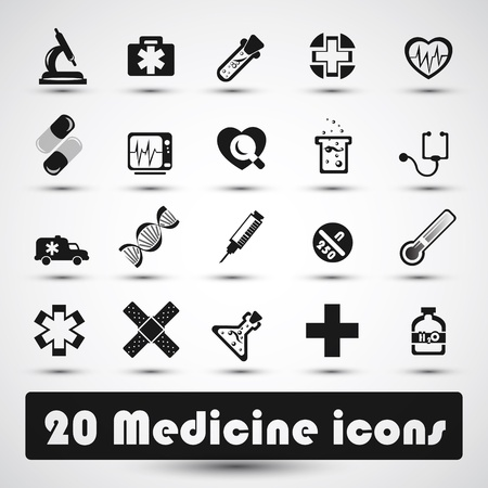 Medical icon with dark gray Illustration