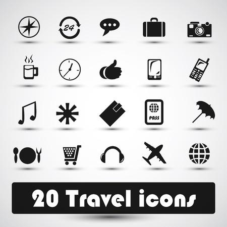 harbour: 20 icone di viaggio con il grigio Vettoriali