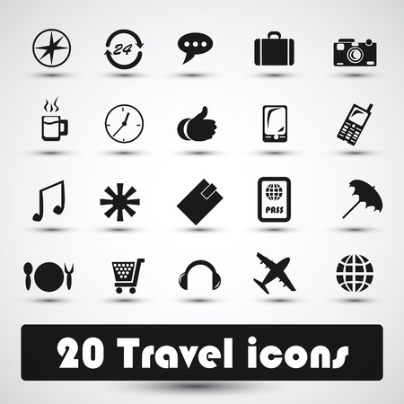 20 travel icon with gray