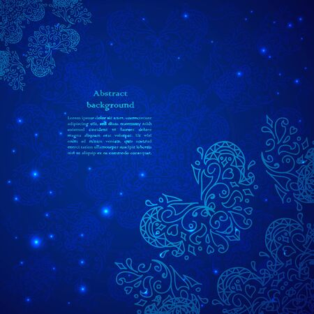 Blue abstract flower background  Illustration